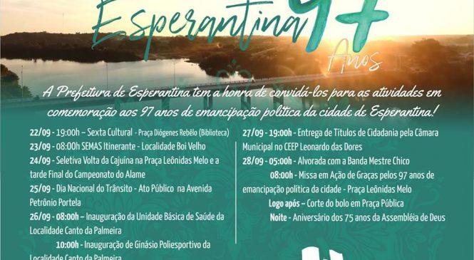 Divulgado a programação do aniversário de 97 anos de Esperantina