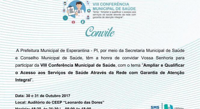 Será realizada hoje a 8ª Conferência Municipal de Saúde em Esperantina