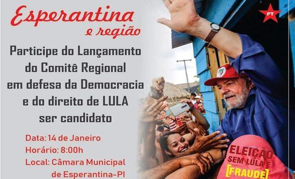 PT do território dos cocais vai lançar comitê em defesa de Lula domingo