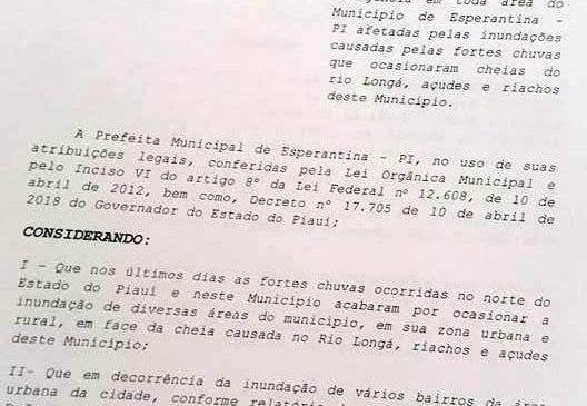 Prefeita Vilma Amorim decreta situação de emergência em Esperantina