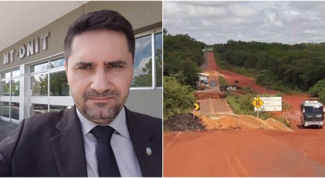 Dr. Zé Angelo protocola no DNIT pedido de providências para recuperação do desvio da ponte do Aposento