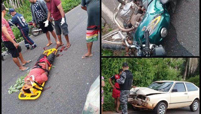 Colisão entre carro e moto deixa um homem gravemente ferido em Esperantina