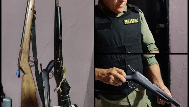 Polícia Militar apreende armas durante blitz na zona rural de Joaquim Pires