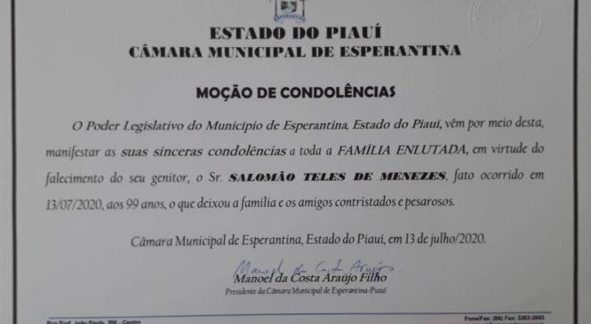 Câmara emite moção de condolências pelo falecimento do ex-vereador Saló