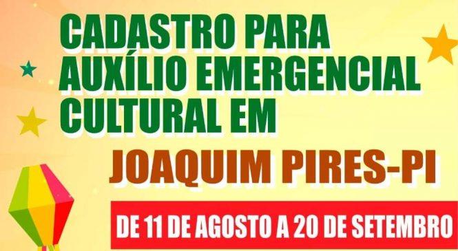 Prefeitura de Joaquim Pires abre inscrições para o auxílio emergencial cultural
