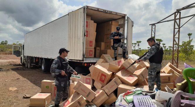 Polícia apreende carga de cigarros e descobre depósito clandestino em Esperantina