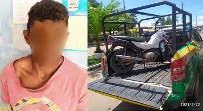 Polícia recupera moto e prende um suspeito na zona rural de Luzilãndia