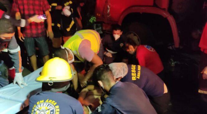 Acidente entre dois caminhões deixa duas pessoas feridas na PI 113